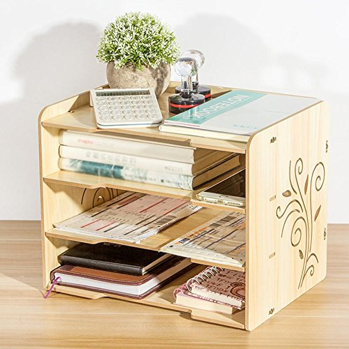 HETAO Holz Multilayer Kassette A4 Papier File Box Nette große Shelf Office Desktop File Holder 33 * 25 * 27CMEinfach und stilvoll