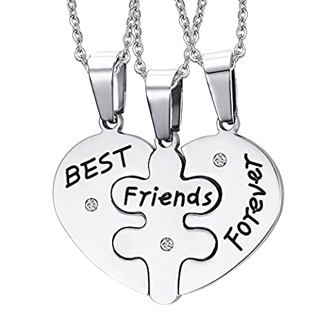 Contever® 3 Pcs Bestfriends necklace set, Best Friends Forever three part necklace, friendship necklace With 3 Pcs Chains