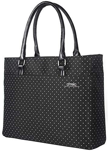 FOSTAK Bolsos totes/Bolso de hombro para mujer Bolso de viaje Messenger Bag elegante Bolsas portátiles para negocio que trabaja Notebook/ordenador portátil de 15.6 Inch,Negro-blanco