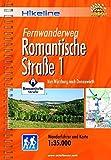 Hikeline Fernwanderweg Romantische Straße 1: Von Würzburg nach Donauwörth, Wanderführer mit Karte, 1:35.000, wetterfest