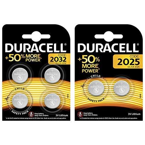 Duracell Specialty 2032 Lithium-Knopfzelle 3V, 4er-Packung CR2032 /DL2032 entwickelt für die Verwendung in Schlüsselanhängern &  Specialty 2025 Lithium-Knopfzelle 3V, 2er-Packung (CR2025 /DL2025)