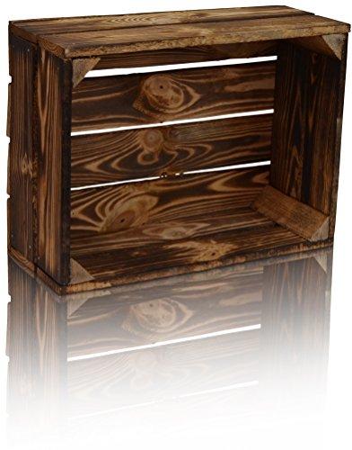 CHICCIE Holzkiste im Vintage Look - Kiste 38x28cm Geflammt Dunkel - Obstkiste Dekokiste