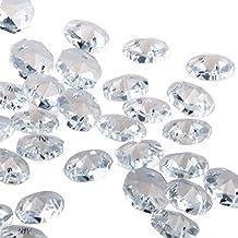 Pack de 100 cuentas de cristal sueltas, de Yier®, 14mm, 2agujeros, forma octagonal, vidrio, transparente