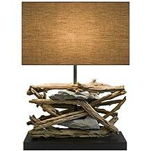 Diseño Baltic Sea de lámpara (oscuro) de madera con pinchos y piedras