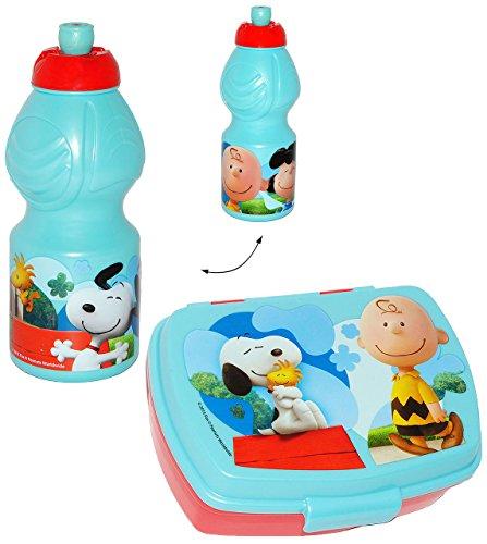 alles-meine.de GmbH 2 TLG. Set _ Lunchbox / Brotdose & Trinkflasche -  Peanuts / Snoopy  - Brotbüchse Küche Essen - für Mädchen & Jungen - Charlie Brown - Woodstock Beagle Hund.. (Woodstock Hund Spielzeug)