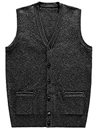 Tubination Men's Front Open Buttoned Sleeveless Woollen Cardigan with Pockets (Grey, 40)