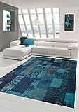 Carpetia Moderner Teppich Designer Teppich Orientteppich Patchwork Kelim Teppich türkis blau Größe 160x230 cm
