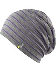 Longue Bonnet légère chapeau surdimensionné gris - rayé - Femmes Hommes Chapeau unisexe, 2014, Croco (violet-gris)