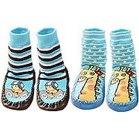 Beetest 2 Pares Lindo algodón Engrosamiento bebé niños Chicos Chicas Calcetines Zapatos Botas Zapatillas Piso 15cm Suela (Conjunto D Talla L)