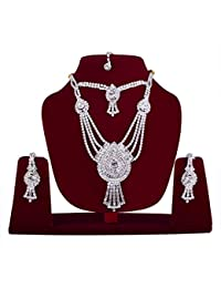 Wedding And Party Wear Collection Stylish American Diamond Occasion Wear Pendent Necklace Set For Women