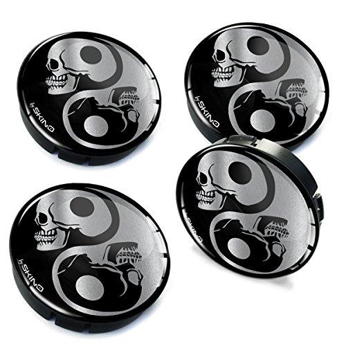 Skino 4 x 60mm Silikon Nabenkappen Kappen Symbol Yin Yang Silber Skulls Schädel Totenkopf Felgendeckel Radkappen Radnabendeckel Nabendeckel Auto Tuning C 82
