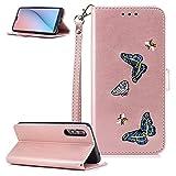 FNBK - Funda de piel para Huawei P20 Plus, con cierre de clip, con correa de silicona y tarjetero, color oro rosa, oro rojo