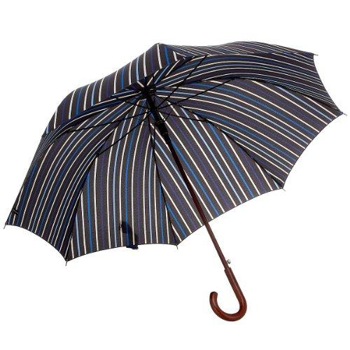 Samsonite Umbrella Regenschirm Stockschirm Wood Classic Automatic, striped black