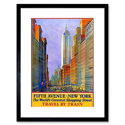 TRAVEL New York City Fifth Avenue Shop Store Rail USA Framed Art Print B12X6486