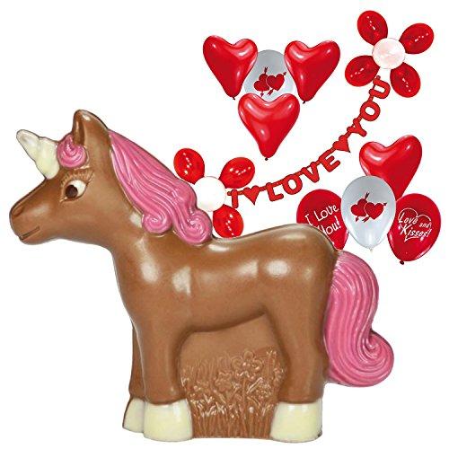 (Einhorn Schokolade Vollfigur mit Valentinstag Deko-Set 100g)