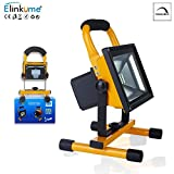 ELINKUME LED Floodlight 30W RGB Dimmable Spotlight Portable Battery with Frame 120º Beam Angle LED Spotlight Outdoor Lighting External Bulkhead Uplight Downlight Internal or External USB Interface (Rechargeable) (30W)