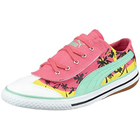 Puma 917 Lo CALI Jr 349918 01, Unisex - Kinder Sneaker, pink, (honeysuckle-Neptune Green-yellow cream 01), EU 35, (US 3 1/2), (UK 2