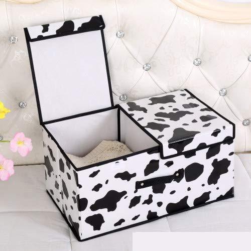 Zyhoue Aufbewahrungsboxen-Unterwäsche Aufbewahrungsbox Aufbewahrungsbox Stoffbezug Falten Aufbewahrungsbox, Vlies Aufbewahrungsbox Kuh Doppeldeckel Klein: 36 * 25 * 16cm