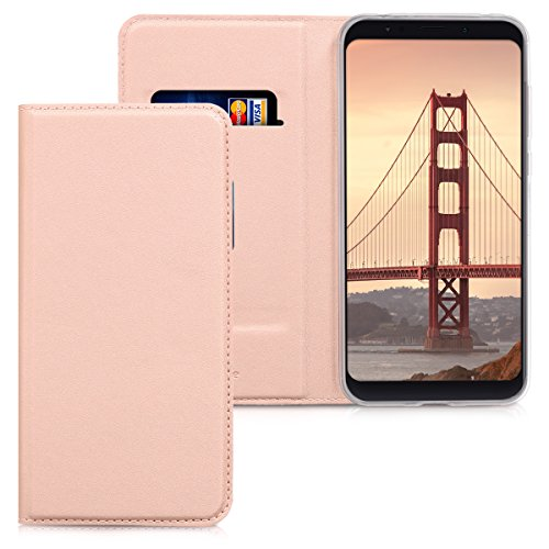 kwmobile Funda para Xiaomi Redmi 5 Plus/Redmi Note 5 (China) - Carcasa para móvil de Cuero sintético - Case Plegable en Oro Rosa