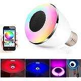 Bluetooth Bombilla Altavoz LED Lámpara – VICTORSTAR 7W Luz Trabajar con iOS / Android Teléfono y Tableta por App, 16 Millones de Colores Cambiantes, Minutero, Sincronizar Música, E27