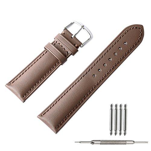 Uhrenarmband Lively Life Kalbsleder Uhrenband Mode Geprägte Korn Ersatzarmband mit Edelstahl Dornschließe Passend für Traditionelle Uhr Sportuhr oder Smart Watch 18mm 20mm 22mm Schwarz Braun Hellbraun