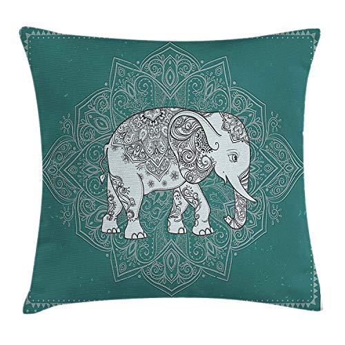 ONGH Funda de Cojín de Almohada de Elefante Mandala Símbolo de Fortaleza Mental Y Física en El Marco Floral Funda de Almohada Decorativa Cuadrada 18 X 18 Pulgadas Azul Claro Y Azul Petróleo