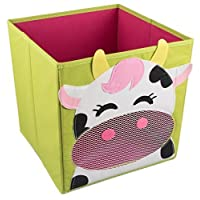 Smiling Cow Collapsible Toy Storage Box and Closet Organizer for Kids