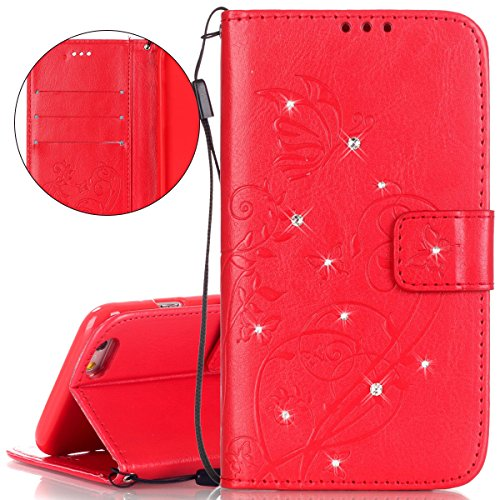 Hülle für iPhone 6S Plus, Tasche für iPhone 6 Plus, Case Cover für iPhone 6 Plus, ISAKEN Glitzer Strass Kristall Blume Schmetterling Muster Folio PU Leder Flip Cover Brieftasche Geldbörse Wallet Case  Blume Schmetterling Rot