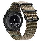 Fintie Correa para Samsung Galaxy Watch 46mm / Gear S3 Classic/Gear S3 Frontier/Huawei Watch GT Sport - 22mm Pulsera de Repuesto de Nylon Tejido Banda Ajustable con Hebilla de Metal, Caqui