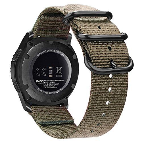 Fintie Armband kompatibel für Galaxy Watch 46mm / Gear S3 Classic / Gear S3 Frontier / Huawei Watch GT - Nylon Uhrenarmband Sport Armband verstellbares Ersatzband mit Edelstahlschnallen, Khaki