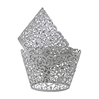 Benbilry 50 PCS Cupcake Wrappers Artistic Bake Cake Paper Cups Laser Cut for Wedding Party Birthday Decoration (Gray)