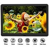Digitaler Bilderrahmen 1920x1080 HD 10 Zoll Full-IPS-Display Elektronischer Fotorahmen Musik/Video-Player Kalender Wecker automatischer EIN/aus Timer mit Fernbedienung, unterstützt max. 128G SD Karte