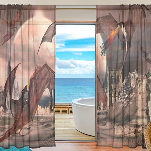 Mnsruu Yibaihe Vorhänge mit roten Drachen, 198 cm lang, Transparente Gardinen Tüll Voile, für Wohnzimmer/Schlafzimmer, 2 stücks