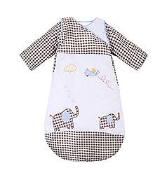 Missfly Baby Schlafsack Kinderschlafsack mit Abnehmbaren Aermeln,Langarm,Ganzesjahr Fuer 20-25 Grad, Elefant, L(Länge:105cm)