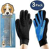 3PCS Pet Bürste Handschuh, Leebei Haustier Grooming Bürsten Deshedding Glove Cat...