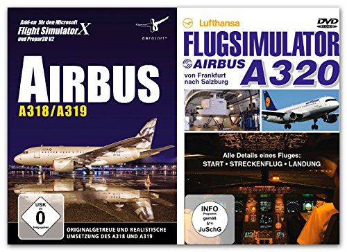 BUNDLE -- Airbus A318 / A319 für Flight Simulator X & Prepar3D (V2) - & - DVD Lufthansa Flugsimulator: Airbus A320 - von Frankfurt nach Salzburg