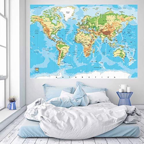 murimage Papier Peint Carte du Monde Bois 183 x 127 cm Photo Mural Pays Vintage worldmap bureau enfants wallpaper colle inclus
