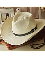 LKMNJ La Sra. Sun Sombreros Sombreros Sombrero de Paja plegable Software Gran Edge Beach ,blanco leche
