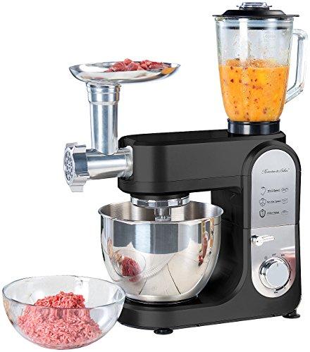 Rosenstein & Söhne Nudelmaschine: All-in-One-Küchenmaschine mit Fleischwolf und Mixaufsatz, 1.000 Watt (Küchenmaschinen Sets)