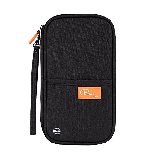 Tuscall Reisebrieftasche mit RFID Schutz Reiseorganizer Mappe Reisepass Reise-Dokumente Tasche Kreditkarten-Halter Ausweistasche Unisex-Clutch mit Reißverschluss-Fächern (Schwarz)