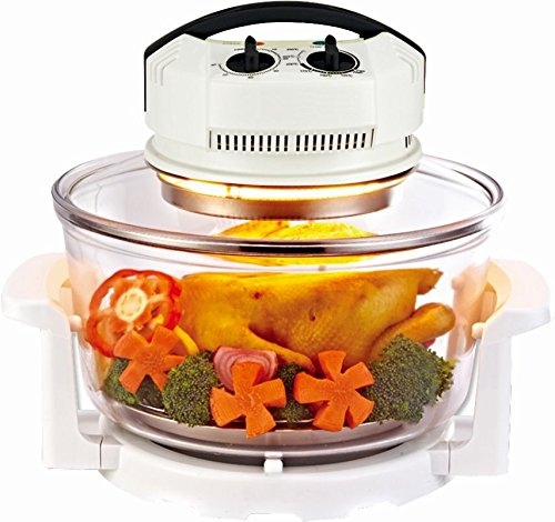 Enrico Halogenofen - Heissluftofen Premium 12 l mit Zeitschaltuhr und Temperaturregler - Perfekte Gerichte backen, braten, rösten und grillen ohne Fett und Öl (Kochen Roste)