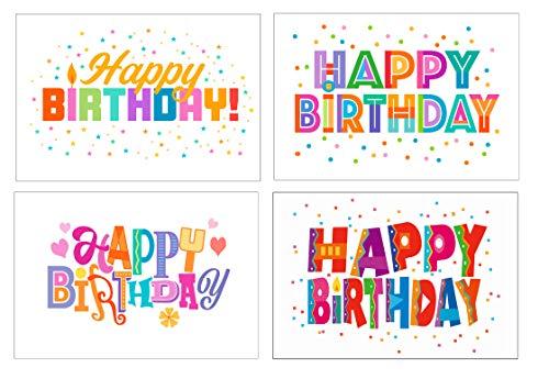 Happy Birthday Postkarten - 4 x 6 Geburtstagspostkarten - 40 lustige Geburtstagskarten, 4 verschiedene Geburtstags-Designs