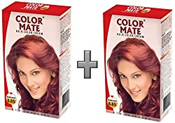 Color Mate Hair Color Cream, Burgundy, 130ml (Pack of 2)