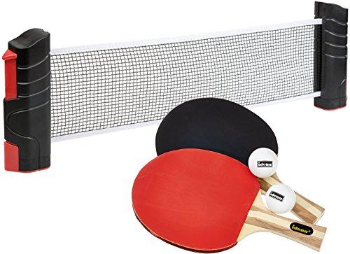 Idena - Tischtennisnetz, ausziehbar bis 176 cm, bis 5,2 cm Tischplattenstärke, schwarz + Tischtennis Turnierset, 2 Schläger, 2 Bälle, Hülle, farblich Sortiert