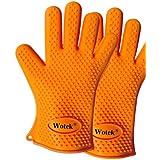 Wotek de silicona guantes para asar, hornear guantes, barbacoa guantes y agarraderas perfecto anti-calor, buena herramienta para la cocina-a prueba de agua hirviendo, de un tamaño más