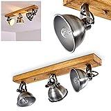 Deckenleuchte Svanfolk, Deckenlampe aus Metall und Holz in Silber/Braun, 3-flammig, mit verstellbaren Strahlern, 3 x E14-Fassung, max. 40 Watt, Retro/Vinatge Design