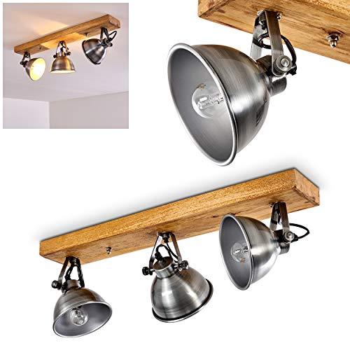 Deckenleuchte Svanfolk, Deckenlampe aus Metall und Holz in Silber/Braun, 3-flammig, mit verstellbaren Strahlern, 3 x E14-Fassung, max. 40 Watt, Retro/Vinatge Design -