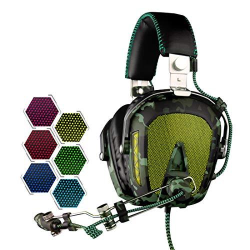 KANEED Multimedia Headset, SADES A90 USB Gaming Headset 7.1 Kanal Wired Kopfhörer mit Kabelsteuerung + Mikrofon + Farbwechsel Atemlicht für PC, Laptop (Schwarz + Armeegrün) (Farbe: 1) Wired Gaming Headset