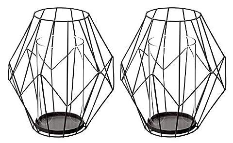 Lot de 2 photophores en métal et verre coloris noir - Dim : D 19 x H 21 cm - PEGANE -