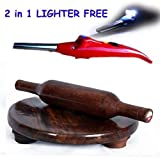 #10: Vinjhraat Combo of Wooden Chakla-Belan/Polpat-. Roller/Rolling Pin, 10 inch & Eco Friendly and One Gas Lighter with tourch